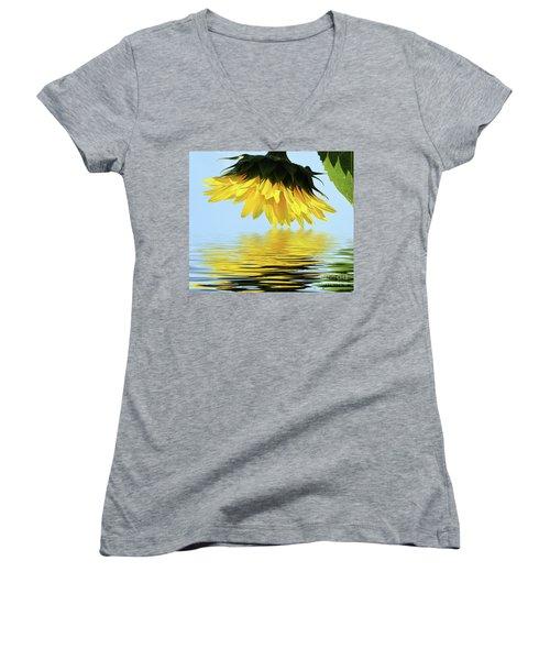 Nice Sunflower Women's V-Neck T-Shirt (Junior Cut) by Elvira Ladocki