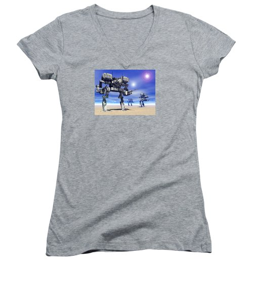 501st Mech Trinary Women's V-Neck T-Shirt (Junior Cut) by Curtiss Shaffer