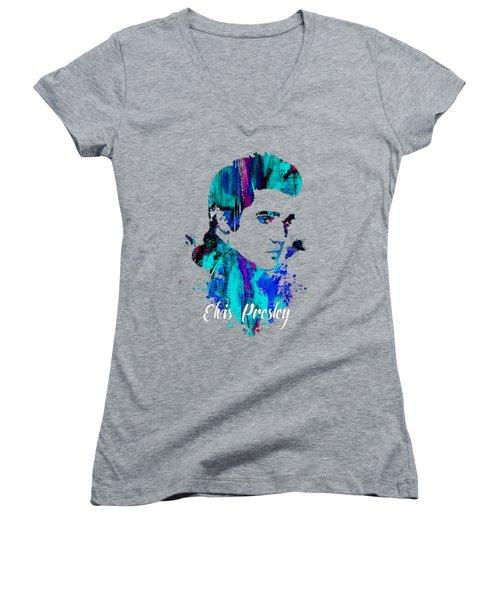 Elvis Presley Collection Women's V-Neck T-Shirt (Junior Cut) by Marvin Blaine