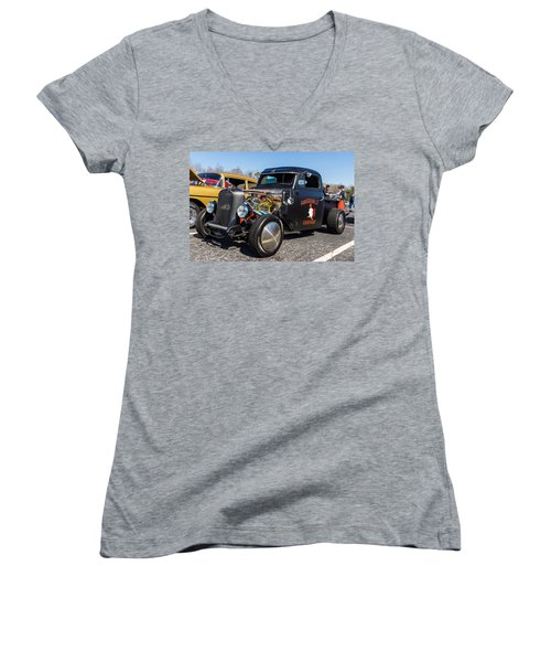 Women's V-Neck featuring the photograph 51 Ford F-1 Rat Rod - Ehhs Car Show by Michael Sussman