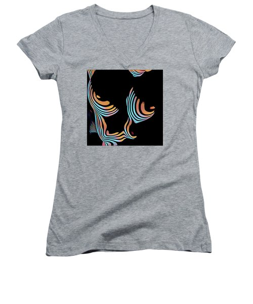 5126s-mak Large Breasts Ribs Abstract View Rendered In Composition Style Women's V-Neck
