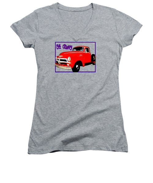54 Chevy Pickup Acme Of An Age Women's V-Neck