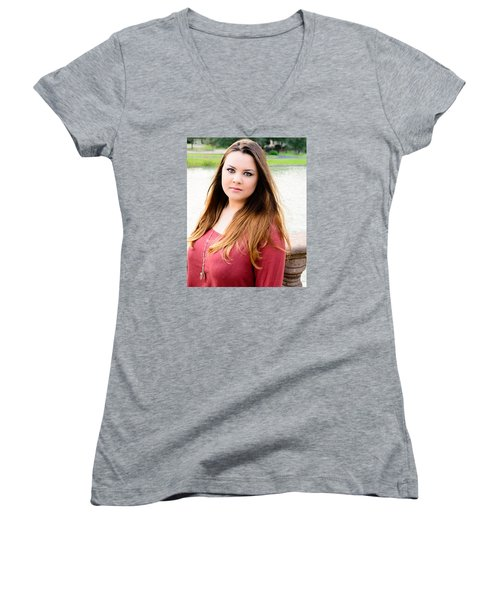 5601-2 Women's V-Neck T-Shirt (Junior Cut) by Teresa Blanton