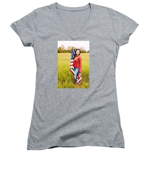 Women's V-Neck T-Shirt (Junior Cut) featuring the photograph 5624-2 by Teresa Blanton