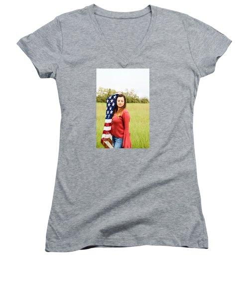 Women's V-Neck T-Shirt (Junior Cut) featuring the photograph 5626-2 by Teresa Blanton