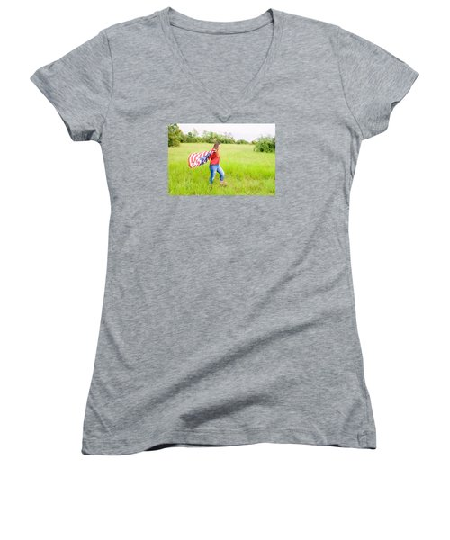 Women's V-Neck T-Shirt (Junior Cut) featuring the photograph 5640-2 by Teresa Blanton