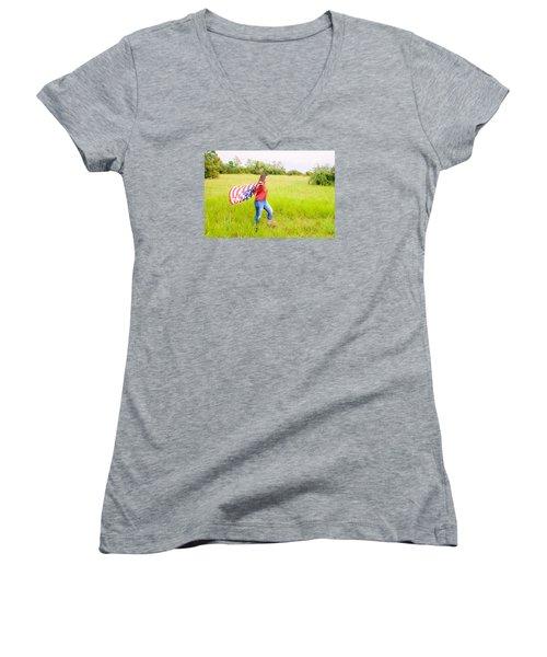 Women's V-Neck T-Shirt (Junior Cut) featuring the photograph 5640 by Teresa Blanton