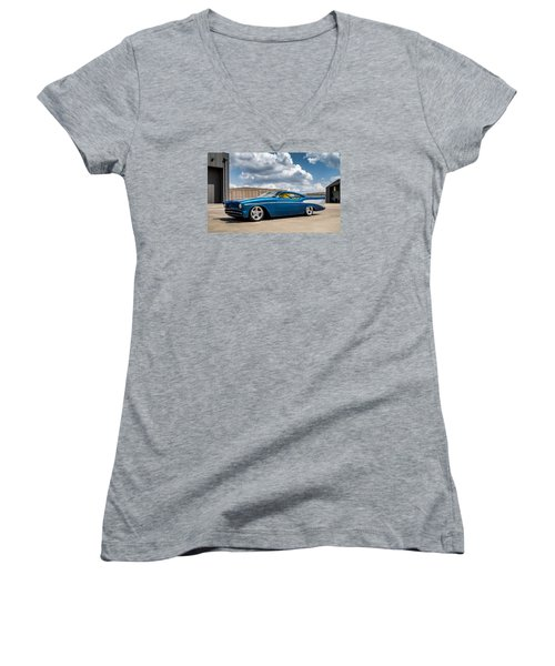 '57 Chevy Custom Women's V-Neck T-Shirt (Junior Cut) by Douglas Pittman