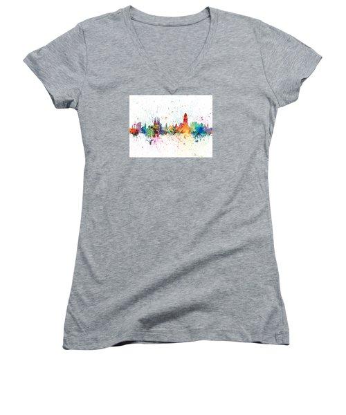 Barcelona Spain Skyline Women's V-Neck T-Shirt (Junior Cut) by Michael Tompsett