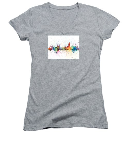 Barcelona Spain Skyline Women's V-Neck (Athletic Fit)