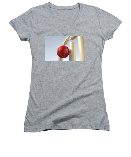 Cricket Ball Hitting Wickets Women's V-Neck T-Shirt
