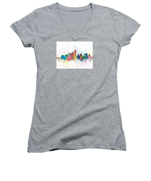 Indianapolis Indiana Skyline Women's V-Neck