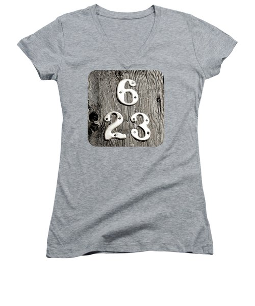 6 Over 23 Women's V-Neck T-Shirt (Junior Cut) by Ethna Gillespie