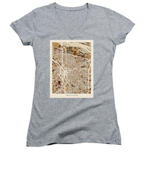 Women's V-Neck T-Shirt (Junior Cut) featuring the digital art Portland Oregon City Map by Michael Tompsett