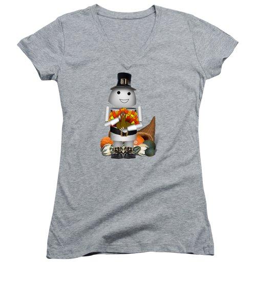 Robo-x9 The Pilgrim Women's V-Neck T-Shirt (Junior Cut) by Gravityx9 Designs