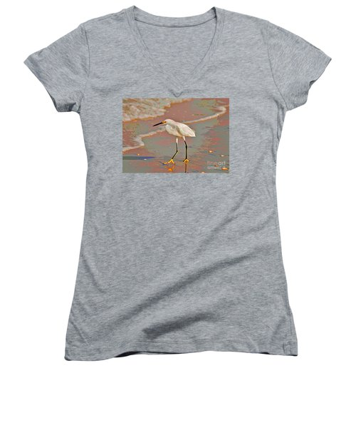 Women's V-Neck T-Shirt (Junior Cut) featuring the photograph 6- Snowy Egret by Joseph Keane