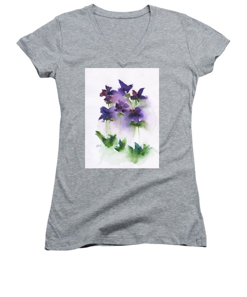 6 Violets Abstract Women's V-Neck T-Shirt (Junior Cut) by Frank Bright