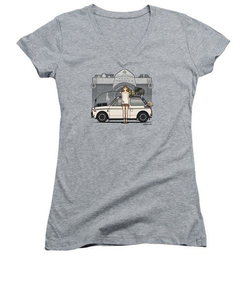 Honda N600 Rally Kei Car With Japanese 60's Asahi Pentax Commercial Girl Women's V-Neck T-Shirt (Junior Cut) by Monkey Crisis On Mars