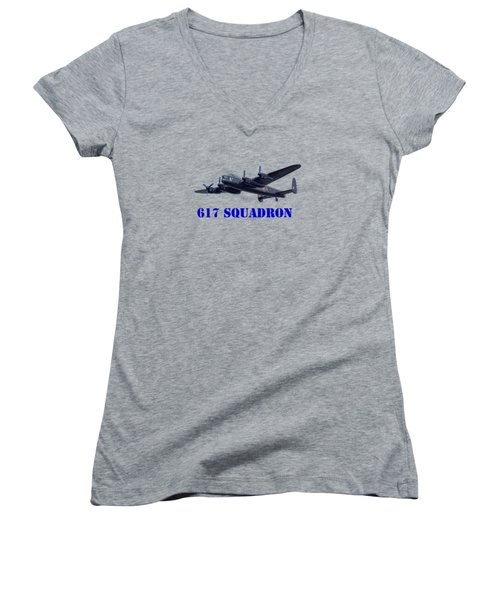 Women's V-Neck T-Shirt (Junior Cut) featuring the photograph 617 Squadron by Scott Carruthers