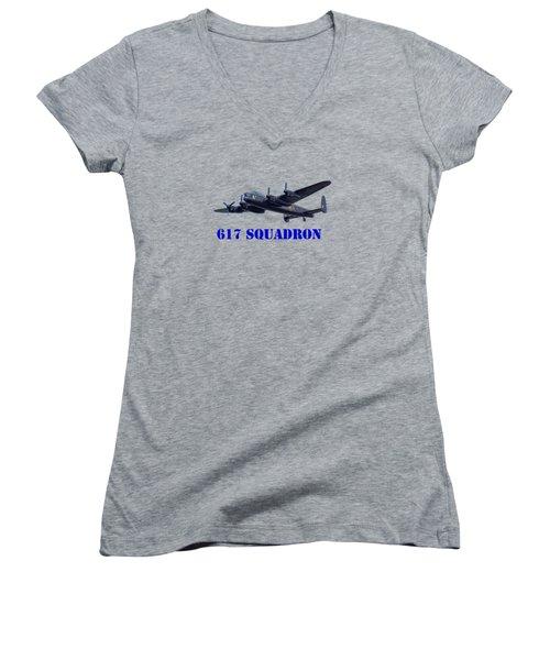 617 Squadron Women's V-Neck T-Shirt (Junior Cut) by Scott Carruthers
