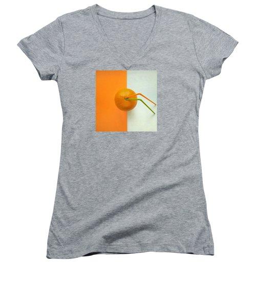 Orange Women's V-Neck T-Shirt (Junior Cut) by Ann Foo