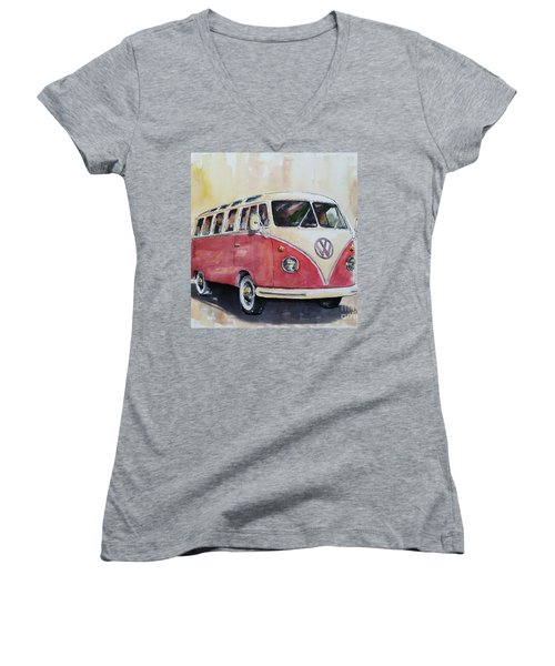 '63 V.w. Bus Women's V-Neck T-Shirt (Junior Cut) by William Reed