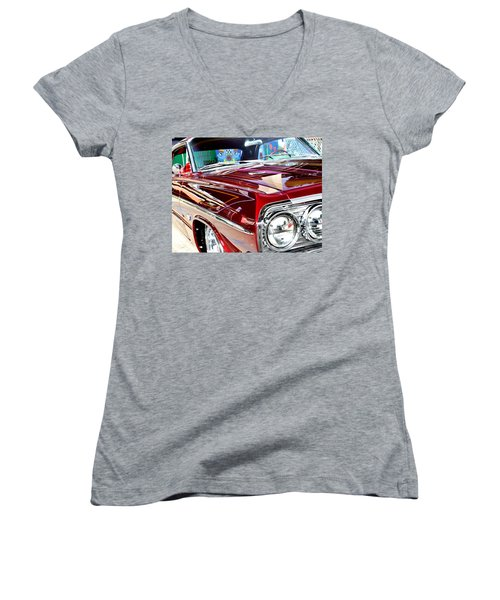 Women's V-Neck T-Shirt (Junior Cut) featuring the photograph 64 Chevy Impala by Christopher Woods