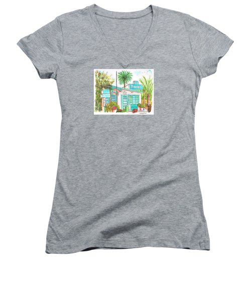 66 Motel In Needles, California Women's V-Neck T-Shirt (Junior Cut) by Carlos G Groppa