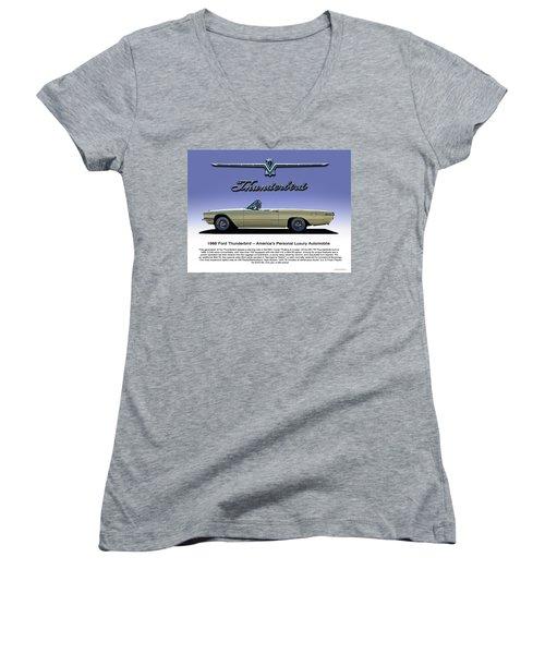 66 T-bird Display Piece Women's V-Neck T-Shirt (Junior Cut) by Douglas Pittman