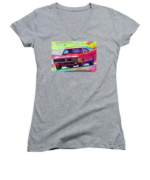 69 Dodge Charger  Women's V-Neck