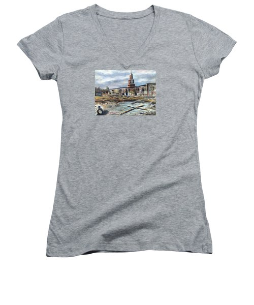 Union University Jackson Tennessee 7 02 P M Women's V-Neck T-Shirt (Junior Cut) by Randy Burns