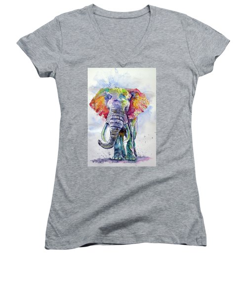 Colorful Elephant Women's V-Neck T-Shirt (Junior Cut)