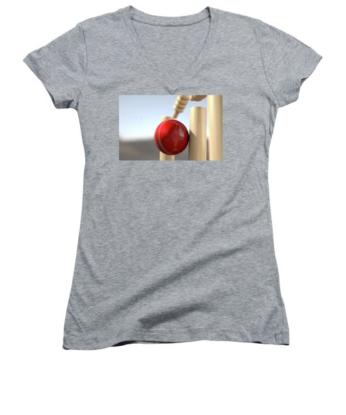 Cricket Ball Hitting Wickets Women's V-Neck T-Shirt (Junior Cut) by Allan Swart
