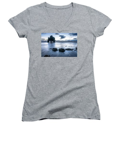 Dinosaur Rock Beach In Iceland Women's V-Neck (Athletic Fit)