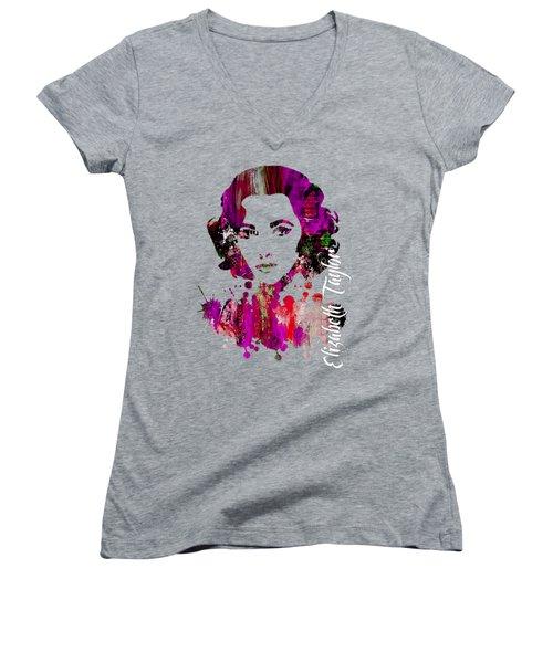 Elizabeth Taylor Collection Women's V-Neck T-Shirt (Junior Cut) by Marvin Blaine