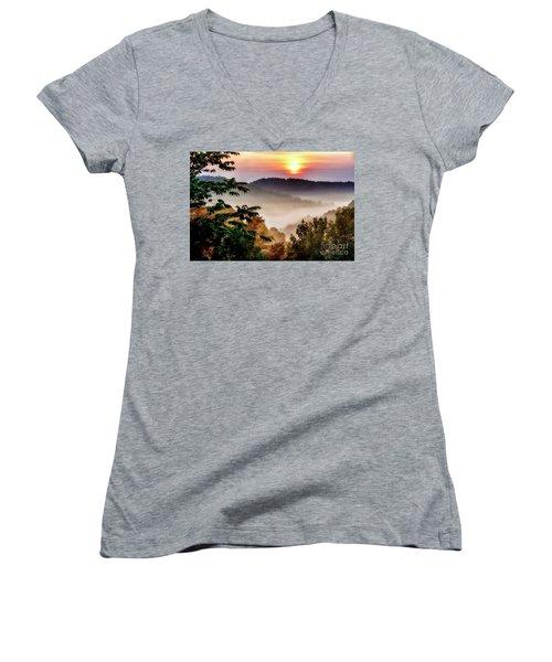 Mountain Sunrise Women's V-Neck T-Shirt (Junior Cut) by Thomas R Fletcher
