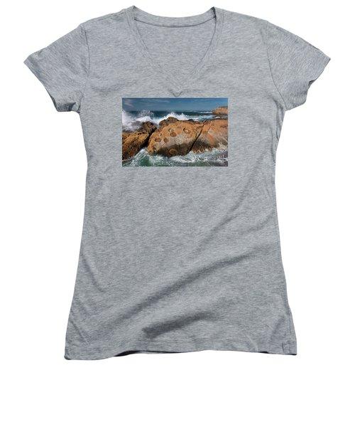 Point Lobos Concretions Women's V-Neck T-Shirt (Junior Cut) by Glenn Franco Simmons