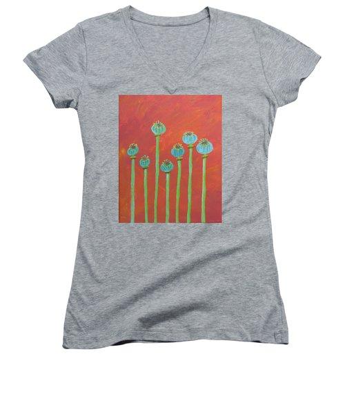 7 Poppy Seed Pods Women's V-Neck T-Shirt