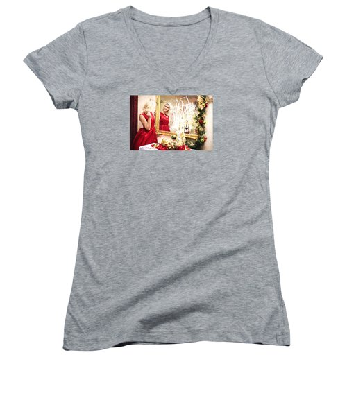 Vintage Val Home For The Holidays Women's V-Neck (Athletic Fit)