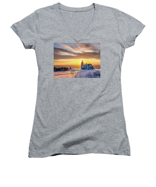West Quoddy Head Lighthouse Women's V-Neck T-Shirt (Junior Cut) by Trace Kittrell