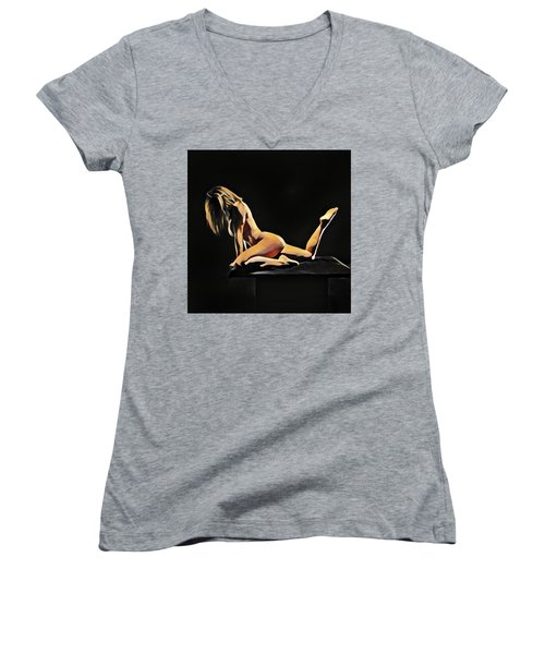 7038s-amg Watercolor Of Beautiful Mature Nude Woman Women's V-Neck