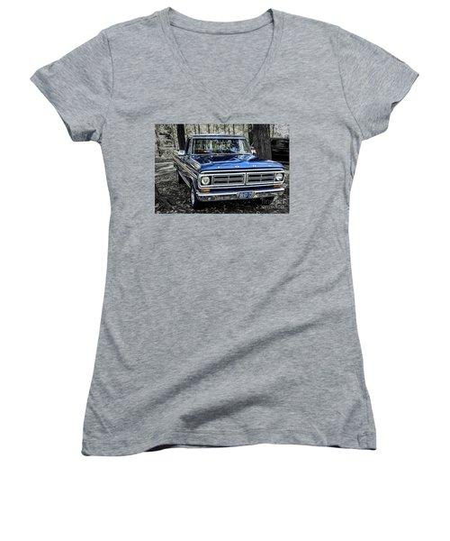 Women's V-Neck T-Shirt (Junior Cut) featuring the photograph 73 Ford Pickup by Brad Allen Fine Art