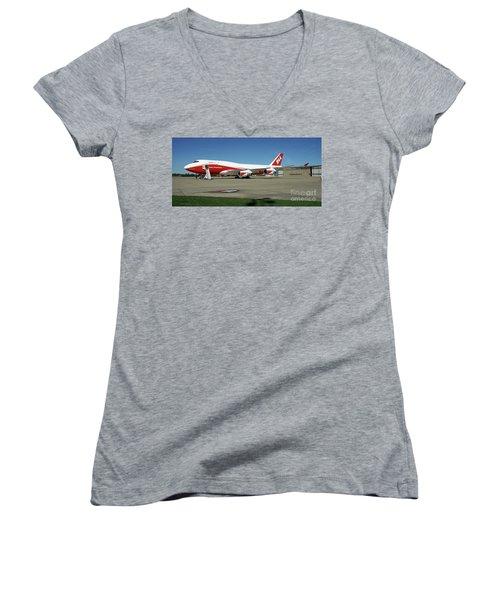 747 Supertanker Women's V-Neck T-Shirt (Junior Cut) by Bill Gabbert
