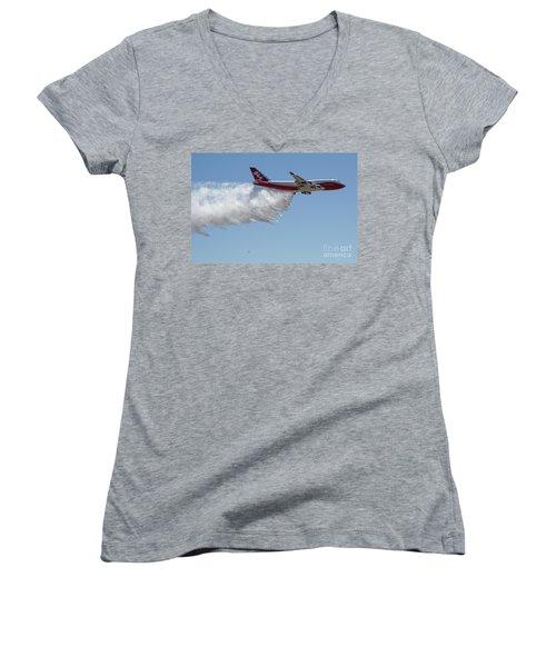 747 Supertanker Drop Women's V-Neck T-Shirt (Junior Cut) by Bill Gabbert