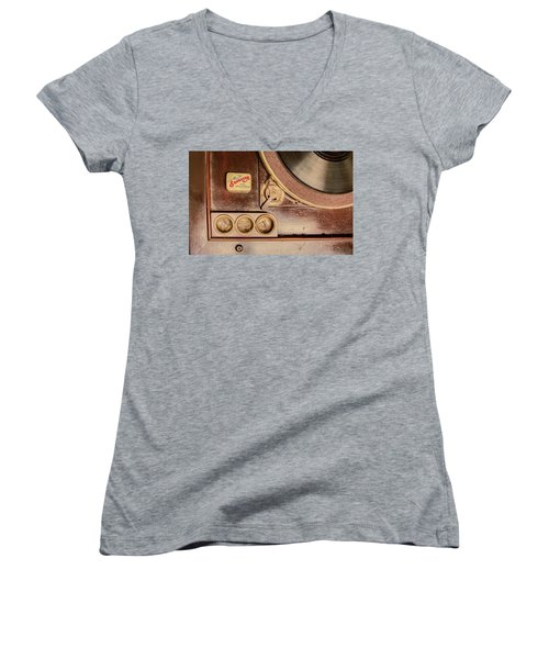 Women's V-Neck T-Shirt featuring the photograph 78 Rpm And Accessories by Gary Slawsky