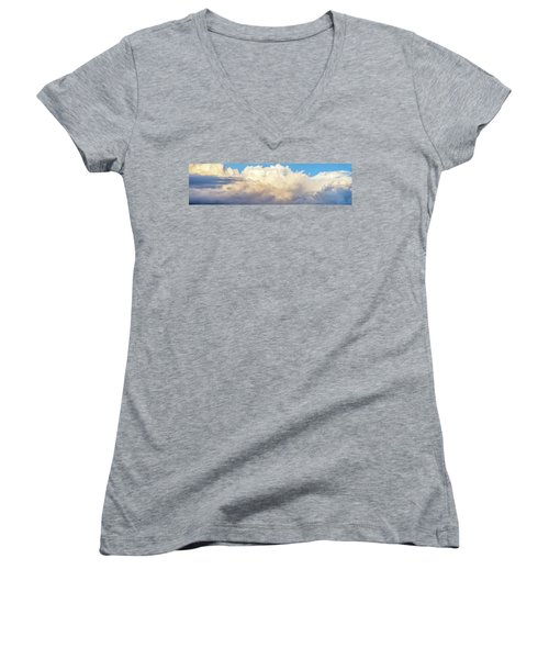Women's V-Neck T-Shirt (Junior Cut) featuring the photograph Clouds by Les Cunliffe