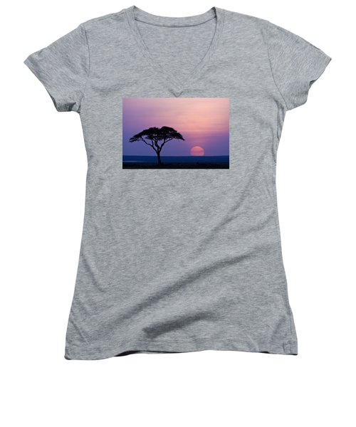 African Sunrise Women's V-Neck (Athletic Fit)