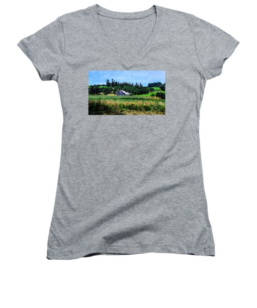 Barns In Pacific Northwest Women's V-Neck (Athletic Fit)