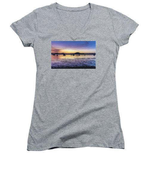 Dawn Waterscape Over The Bay With Boats Women's V-Neck