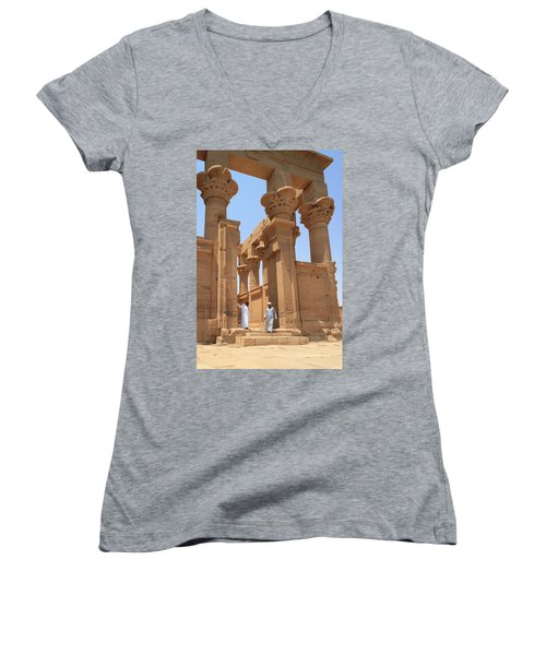 Temple Of Isis Women's V-Neck T-Shirt (Junior Cut) by Silvia Bruno